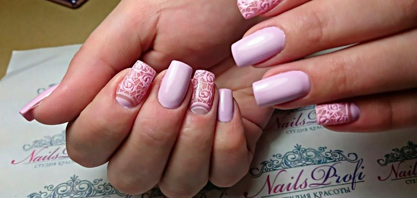 Гелевое наращивание и роспись ногтей