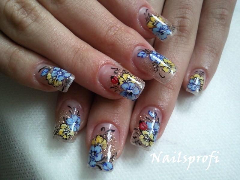 Роспись ногтей с растушевкой в один цвет