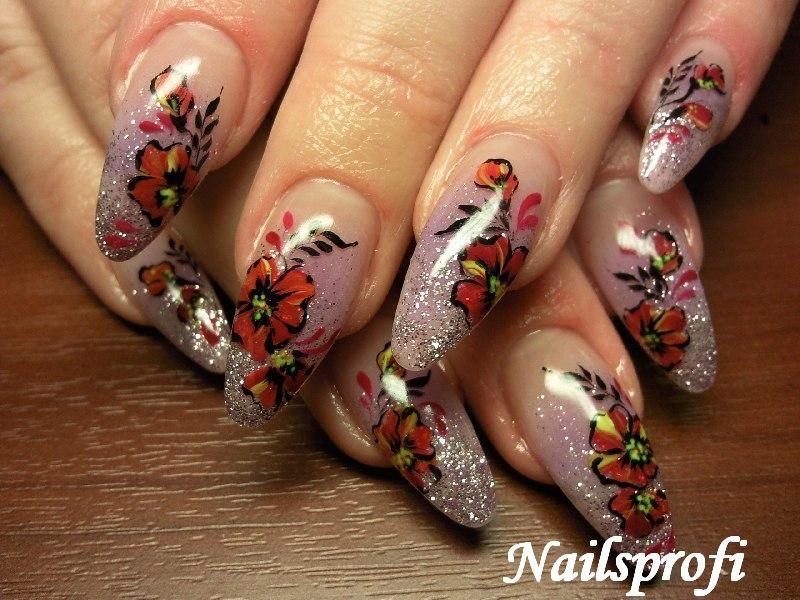 Растушовка и роспись на ногтях