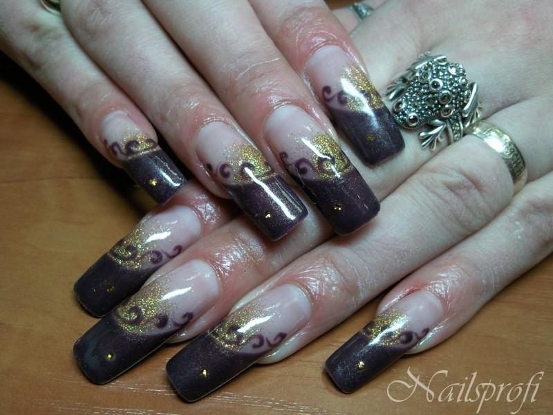 Наращивание ногтей, роспись, слюда
