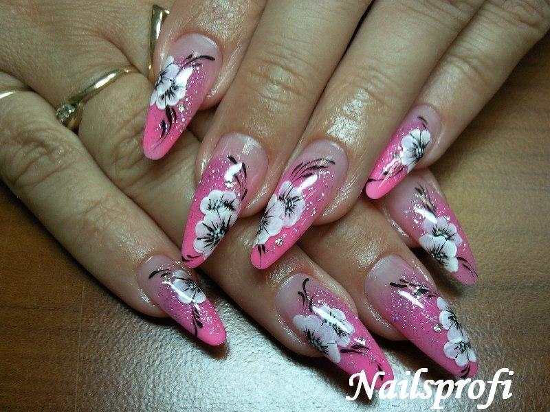 Растушовка в один цвет и роспись ногтей